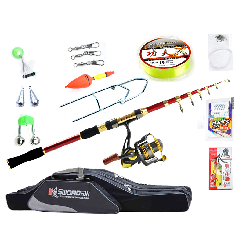 Fishing Tackle Set With 2 1m 3 6m Telescopic Fishing Rod Spinning Reel Fishing Baits Line