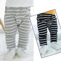 Spring Autumn Boys Girls Pants Toddler Striped Cotton Harem Pant Baby Three Buttons All Match Trousers
