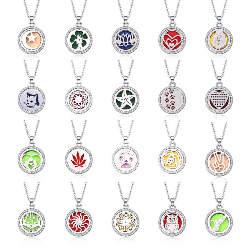 New Aroma Diffuser necklace 30 Designs open locket Essential Oils Aromatherapy lockets With rhinestones Perfume Pendant Necklace