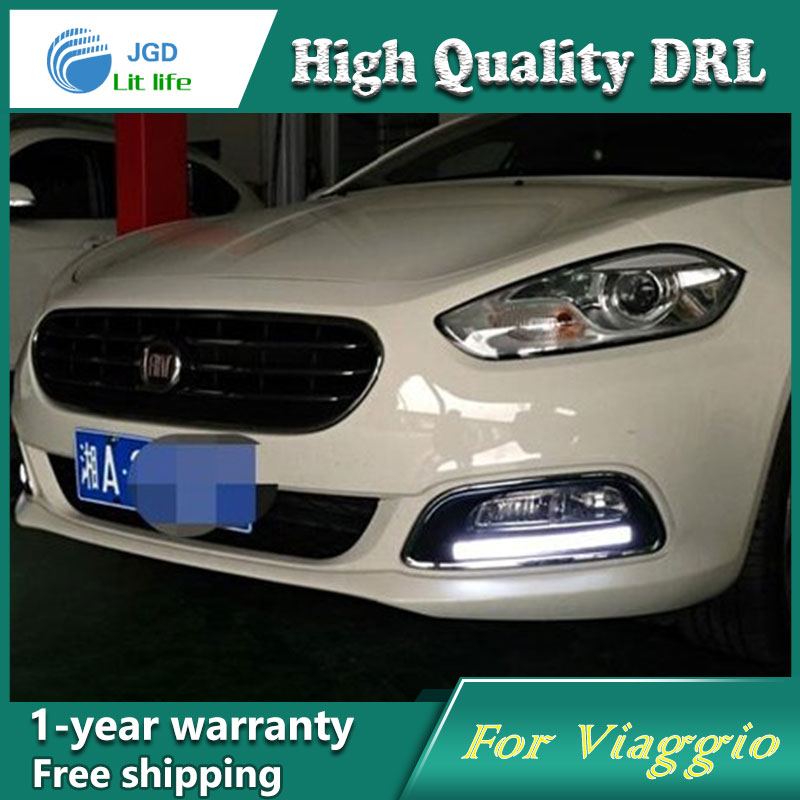 Free shipping !12V 6000k LED DRL Daytime running light case for Fiat Viaggio 2012 2013 fog lamp frame Fog light Car styling