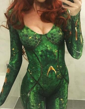 Lady Mera Cosplay Costume Spandex Zentai Suit 3D Print Mera Halloween Cheap Zentai Catsuit Costume for Woman Hot Sale