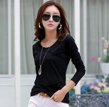 Spring autumn women t shirts high-quality long-sleeve tees female cotton fashion lady tops o-neck casual front striped clothing