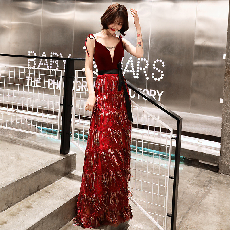 Veste Del 2 Rosso V Donne Scollo Elegante 1 Vestito Femminile A Delle Di Strap Sexy Modo Femme Nuovo Partito Lungo Da Spaghetti FIqnwUn1O