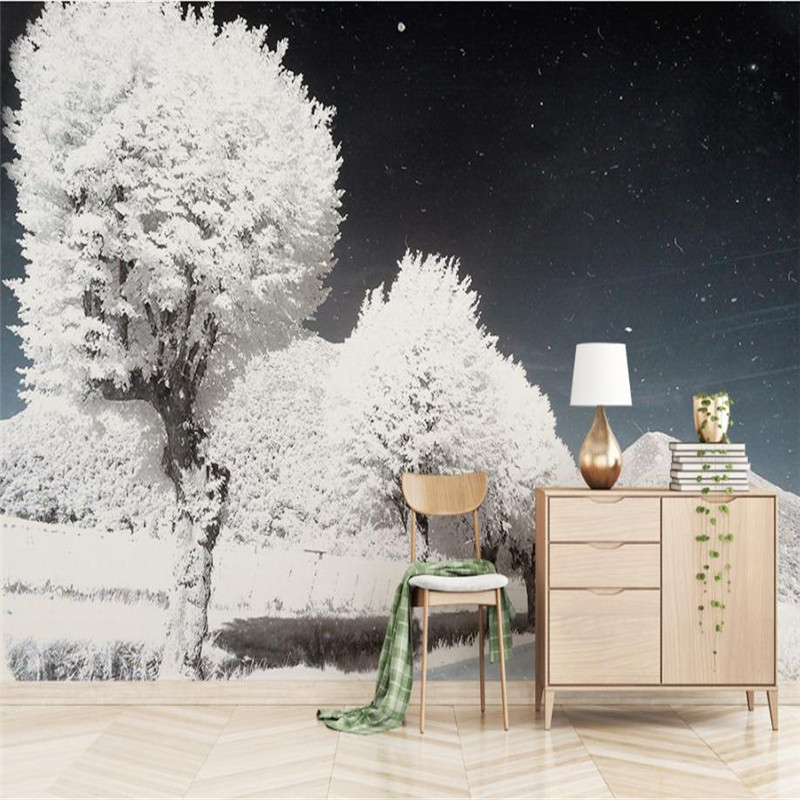 Custom Nordic 3D HD Photo Wallpaper Modern Vintage Snow Scenery Wall Mural Living Room Hotel Background Wallpaper 3D Wall Mural custom baby wallpaper snow white and the seven dwarfs bedroom for the children s room mural backdrop stereoscopic 3d