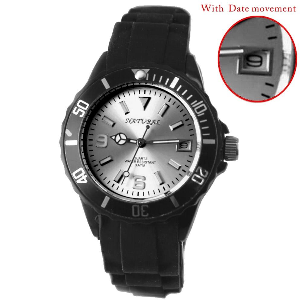 Элитный бренд унисекс Аналоговые Кварцевые Круглый часы Японский Miyota Дата движение Черный Мягкий силиконовой лентой Мэтт Серебряный набор