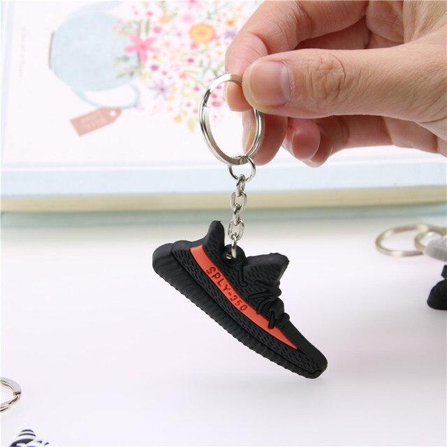 Mini Silicone BOOST 350 V2 Shoes Keychain Bag Charm Woman Men Kids Key Ring Key Holder Gift SPLY-350 Chic Sneaker Keychain 2