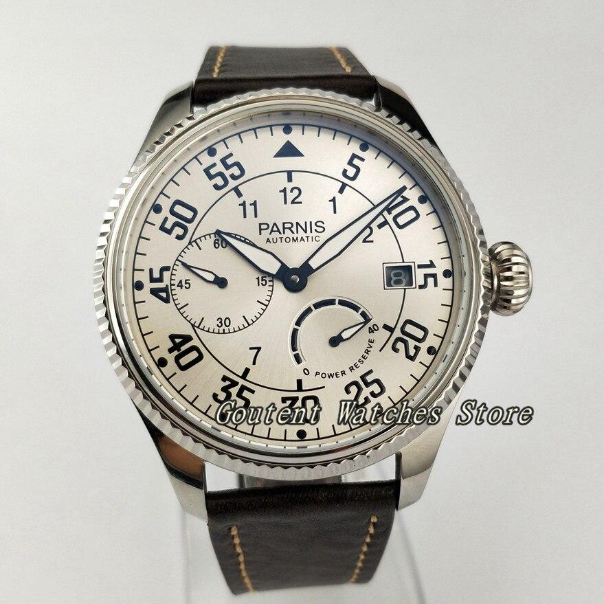 45mm parnis ss. 케이스 파워 리저브 갈매기 자동식 무브먼트 남자 시계-에서기계식 시계부터 시계 의  그룹 1