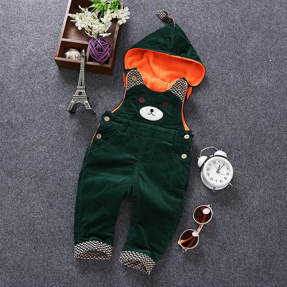 6m- 3Years Baby Rompers Winter Girls Boys Warm Velvet Overalls Toddler Cute Bear Hooded Infant Long Pants Kids jumpsuit