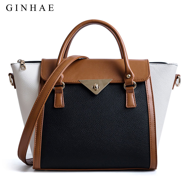 39a9d9fb762 Women Panelled Tote Bag Ladies Litchi Pattern Leather Handbag Female Large  Capacity Shoulder Bags Fashion Patchwork Bolsos Mujer