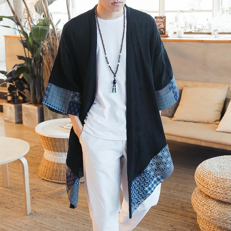 Jacket Men Cardigan Kimono Chinese Long Summer Open-Stitch Traditional Plus-Size