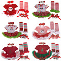 2016 Christmas Baby girl clothes Newborn baby Romper Tutu dress+headband+shoes+leg warmers 4pcs/sets Infant Baby girl clothing