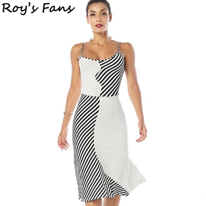 Roy s Fans Women Summer Autumn Vintage Beach Sleeveless Dress Evening Party Club Casual Bodycon Striped