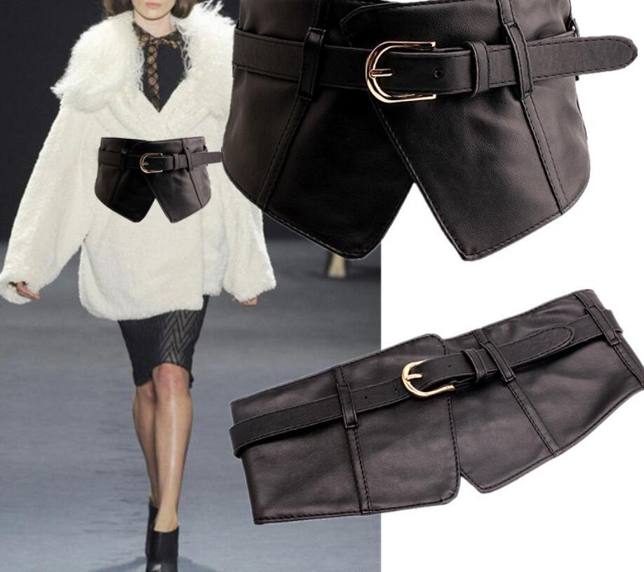 Women's Runway Fashion Elastic PU Leather Cummerbunds Female Dress Corsets Waistband Belts Decoration Wide Belt R1385