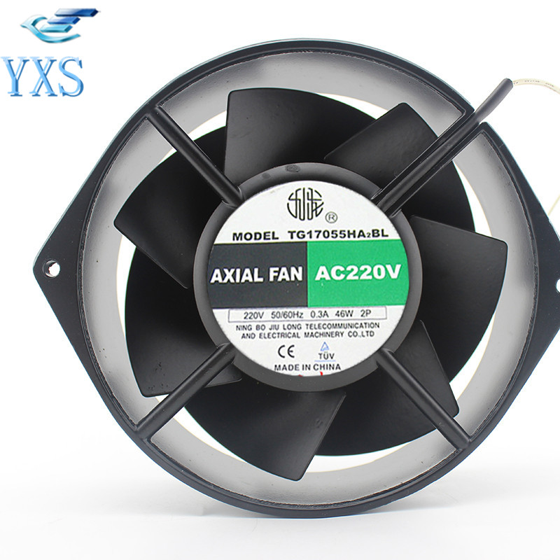 TG17055HA2BL AC 220V 0.3A 46W 50/60HZ 3100RPM Double Ball Bearing 17255 17CM 172*150*55mm 2 Wires Silent Cooling Fan adda 17cm ad17224mb5151m0 172 150 51mm 24v 1 65a 2wire cooling fan