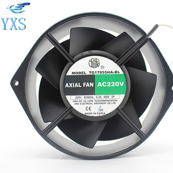 TG17055HA2BL AC 220V 0.3A 46W 50/60HZ 3100RPM Double Ball Bearing 17255 17CM 172*150*55mm 2 Wires Silent Cooling Fan
