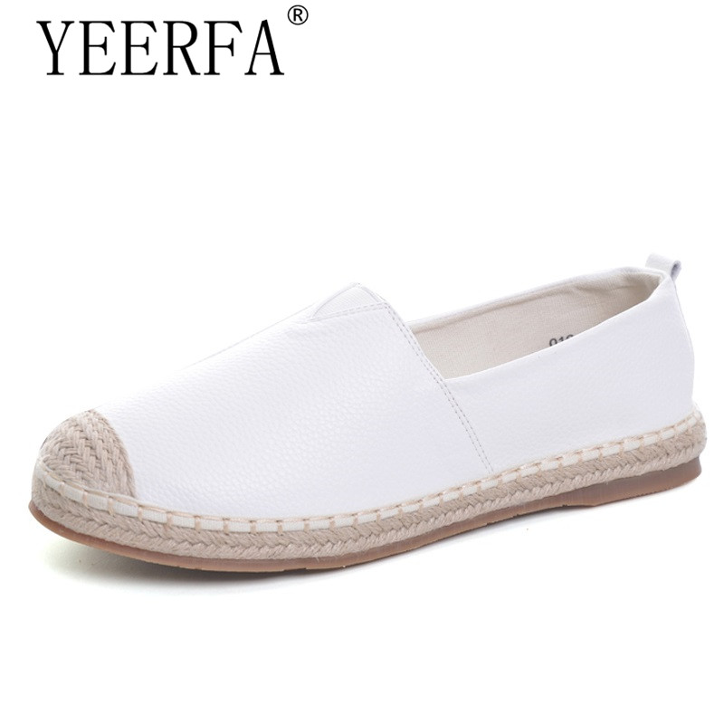 YIERFA Loafers shoes Women slip on Flats Solid Casual shoes spring Summer ladies round toe white ballet Plus Size footwear 2017 summer new fashion sexy lace ladies flats shoes womens pointed toe shallow flats shoes black slip on casual loafers t033109