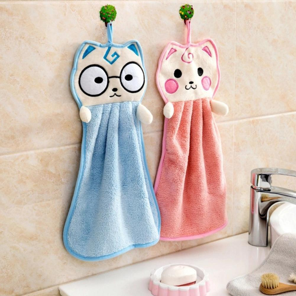 Cartoon Kitten Shaped Coral Fleece Hand Towel Baby Wipe Children Handkerchief