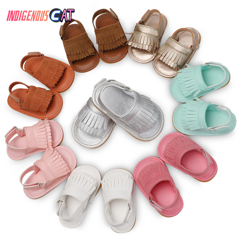 Summer Baby First Walkers Soft Bottom Fringe Candy Color Shoes Girls Baby Toddler Slippers Boys Prewalkers Shoes Wholesale
