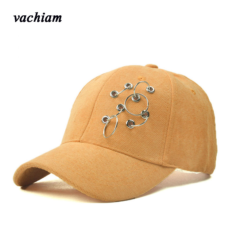 vachiam Macaron Iron Ring Cap Women Baseball Cap With Rings Snapback Hip Hop Hats For Women Men Dad Hat Kpop Gorras