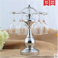 Silver Bar Double Rows Stainless Steel Accessories Wine Rack Glass Cup Bottle Holder HJJ003