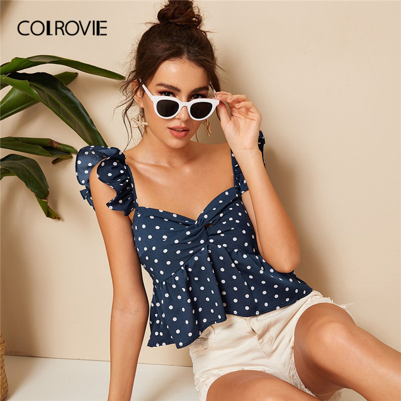 COLROVIE Navy Twist Polka Dot Boho Crop Peplum Top Women Sexy Blouse Shirt 2019 Summer White Holiday Vacation Ladies Blouses