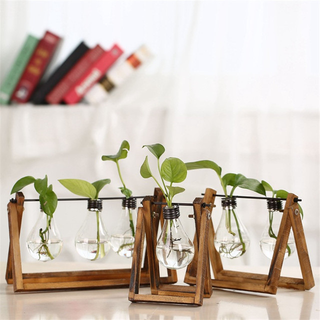 Nordic Home Decoration Store Coffee Shop Solid Wood With Bulb Water Plant Inserted Flower Pot Decor
