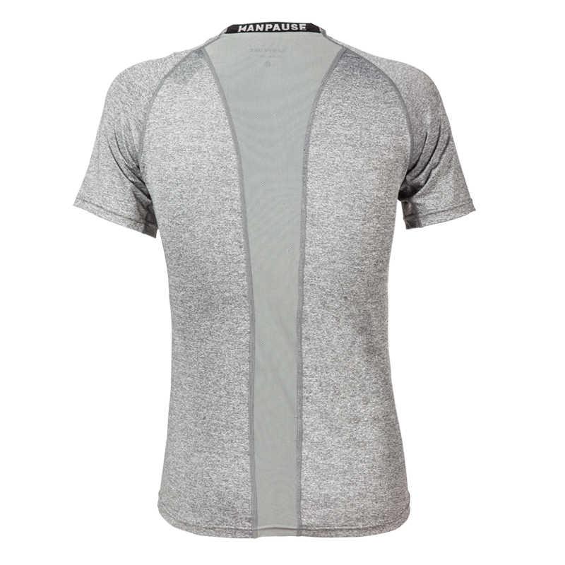 新到着 KANPAUSE 男性のタイツ Tシャツ半袖圧縮フィットネストレーニング Tシャツスポーツウェア