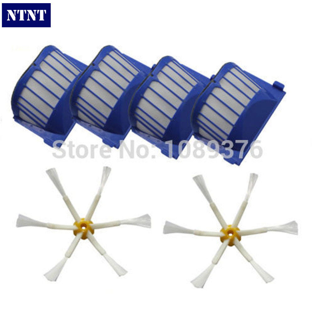 NTNT Free Post shipping New 4 AeroVac Filter + 2 Brush 6 armed for iRobot Roomba 500 600 Series 550 650 ntnt free post new 50x side brush 3 armed for irobot roomba 500 600 700 series 550 560 630 650 760