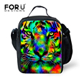 FORUDESIGNS 3D Animal Printing Lunch Bags Thermal Insulation Tiger Lunch Box for Kids Picnic Bag Women Lunchbox bolsa termica