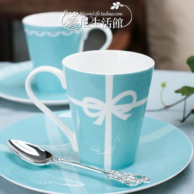 Tiffany blue bow bone china mug Valentine breakfast milk ceramic
