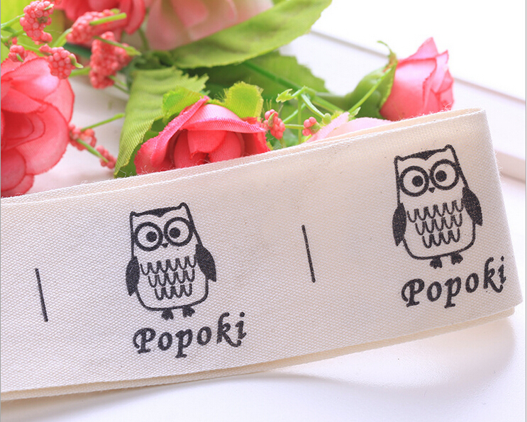 Free shipping 1000pcs/roll pure cotton labels, custom logo printed clothing labels, child clothing use tags, free design for you ...