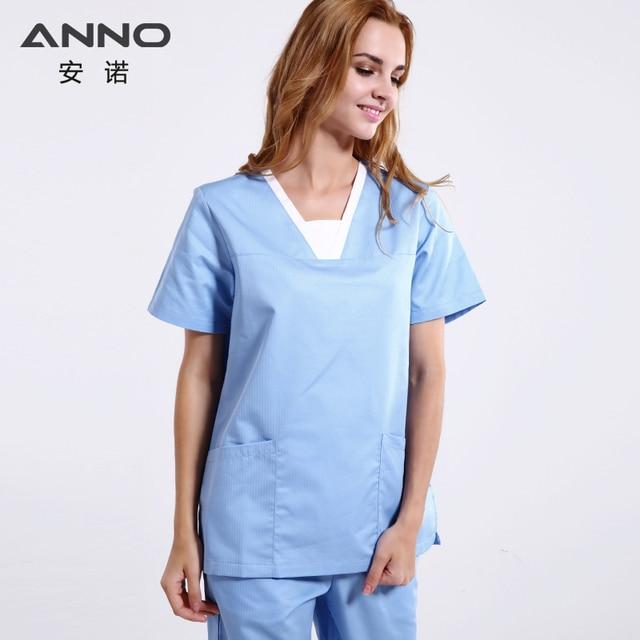 reputable site 05a20 ed206 Summer Light Blue Short Sleeves Nurse Uniform Medical Scrubs Set Doctor  Suit Women Man Hospital Dental Cloths Surgical Uniform