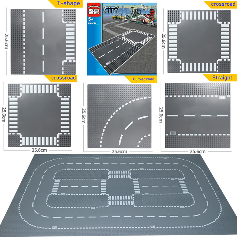 City Road Street Baseplate DIY Building Blocks Bricks Base Plate Suitable LegoINGlys City Table 7280 Toys For Children