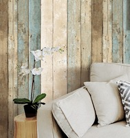 HaokHome Vintage Wood Wallpaper Rolls Blue Beige Brown Wooden Plank Panel Mural Home Kitchen Bathroom Decoration