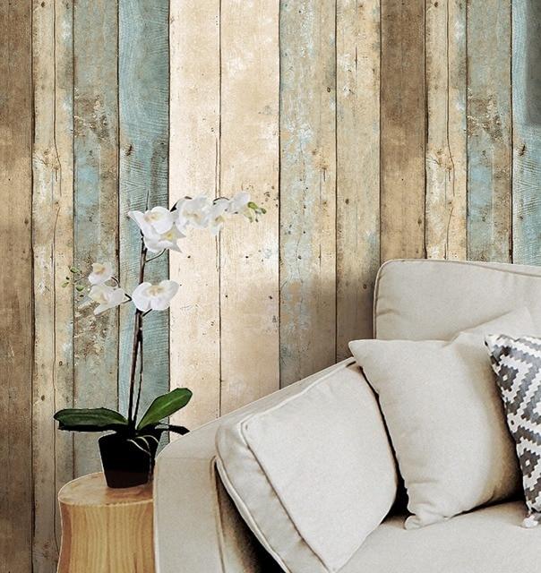 Haokhome vintage hout behang rolls blauw/beige/bruin houten plank ...