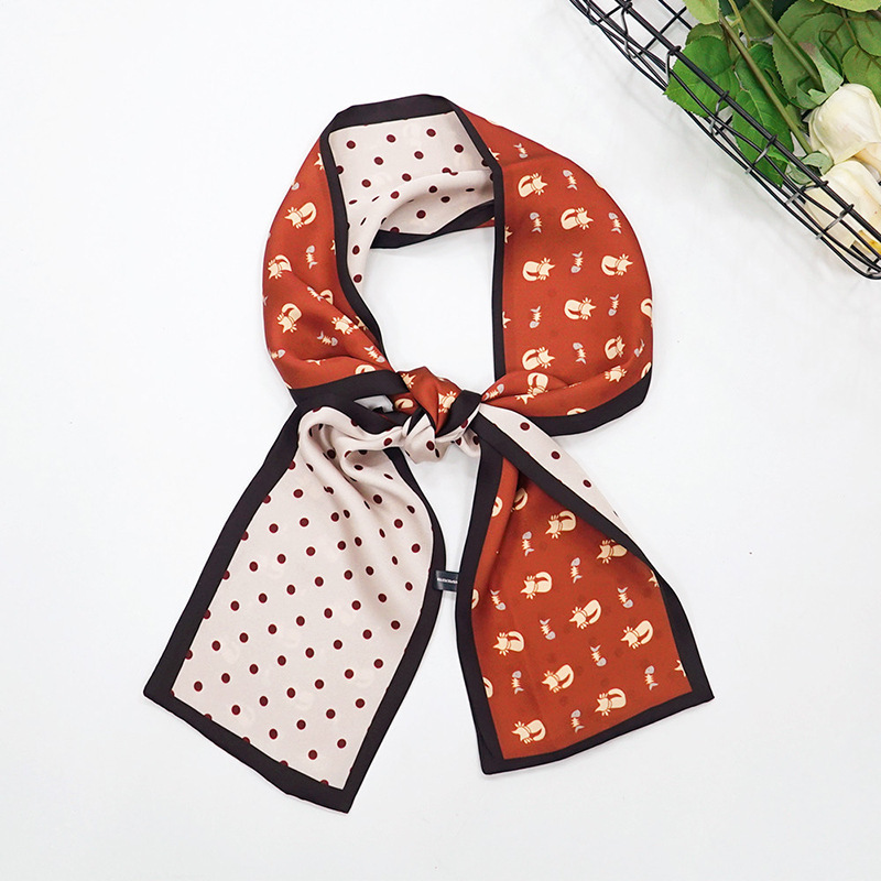 decoration rectangular small han edition printing long scarves emulation silk scarf scarf female 130 13 CM in Women 39 s Scarves from Apparel Accessories