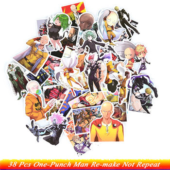 38Pcs One-Punch Man Anime Stickers ONE Re-make With Young jump Funny Anime Kids Toy Sticker for DIY Skateboard Guitar Fridge anime avatar monster pet thumbnail funny spoof taste fridge magnet colourful squishy waterproof stickers kawaii toy recyclable