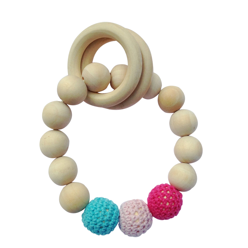 HUAILE Wooden Baby Toys 0-12 Months Educative Teething For 0-12 months Baby Teether Mobile Rattle Stroller Toys