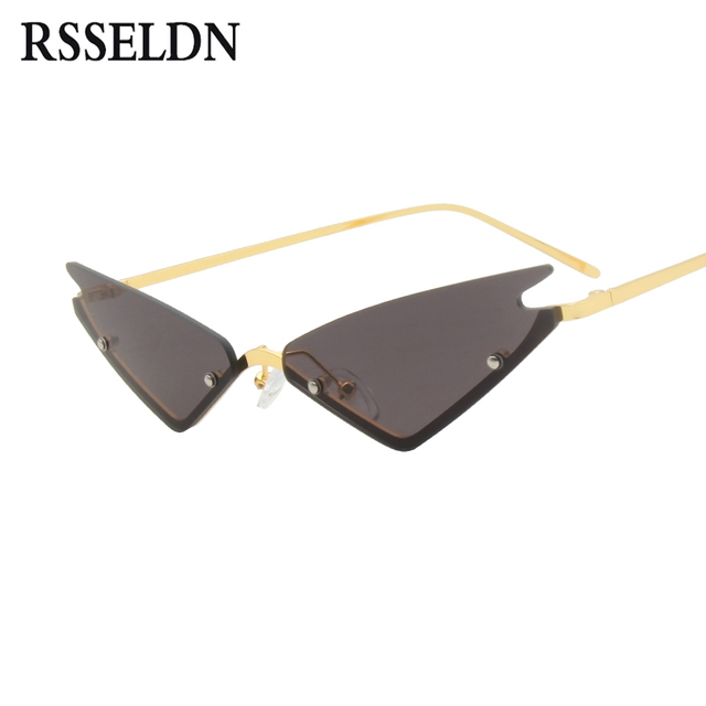 90429ce505 RSSELDN Small Cat Eye Sunglasses Women Brand Designer Vintage Semi-Rimless  Sun glasses Men Female Green Black Metal Mirror UV400