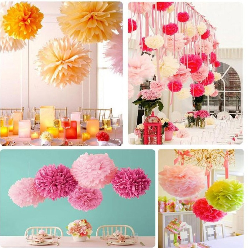 10 PC/set 8(20 cm) Wedding Decor Prop Tissue Paper hydrangea Pompoms Poms Balls artificial flowers wall Party Home Decor P15 ...