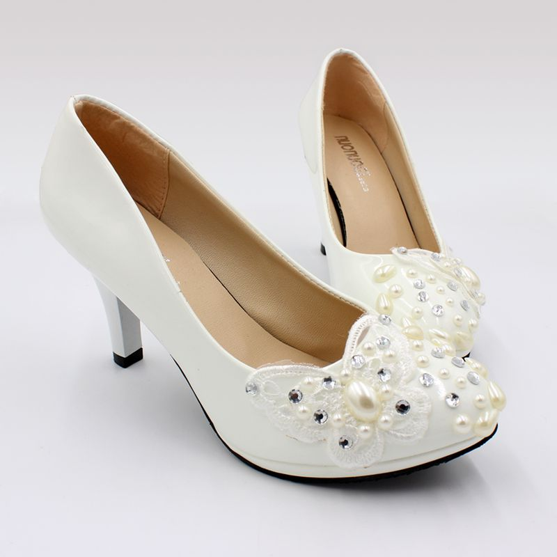 8CM High Heels Shoes Woman Ivory Pearls Sweet Lace