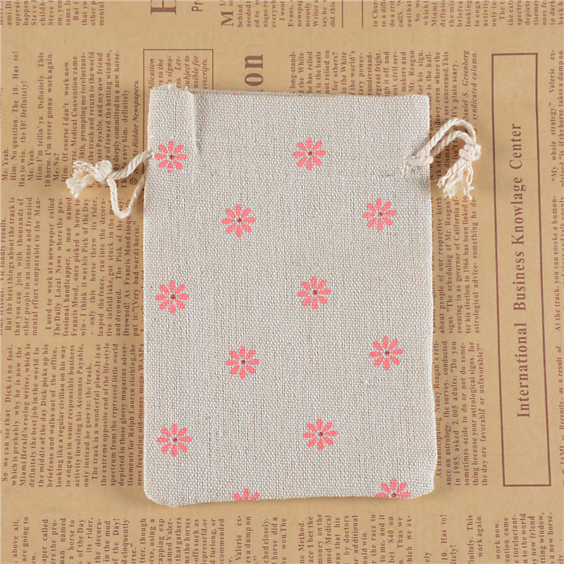 Lanwaylucky Natural Linen Jute Burlap Simple Sack Pouch Drawstring Gift Bag Daisy Flower Jewery Wedding Favors 10 X 14cm In Jewelry Packaging Display