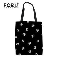 f2171ec52b FORUDESIGNS perro pata patrón Bolsa de compras reutilizable para mujeres  niñas Casual bolsas Bolsa de lona