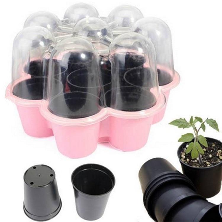 8 홀 식물 묘목 트레이 플라스틱 태양 꽃 모양의 보육 냄비 새싹 판 화분 정원 종묘 상자 분재