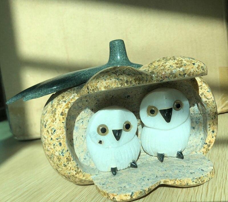 Décoration de la maison en pierre naturelle arts et artisanat travail à la main en pierre sculptée hibou artisanat ornements de jardin