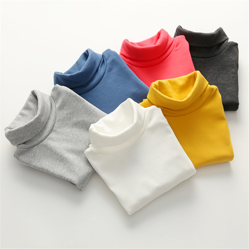 Girls Shirts Turtleneck Spring Bottoming Long-Sleeve Autumn Boys Children Kids