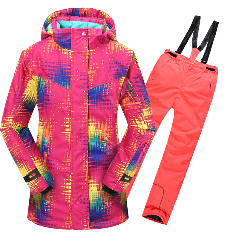 2016 New Winter Children Clothing Set Girls Ski Suit Outdoor Windproof Girls Ski Jackets+Bib Pants 2pcs Girls Ski Set 6-15Years wendywu 2017 russia winter children clothing sets girl ski suit set sport boys jumpsuit snow jackets coats bib pants 2pcs set