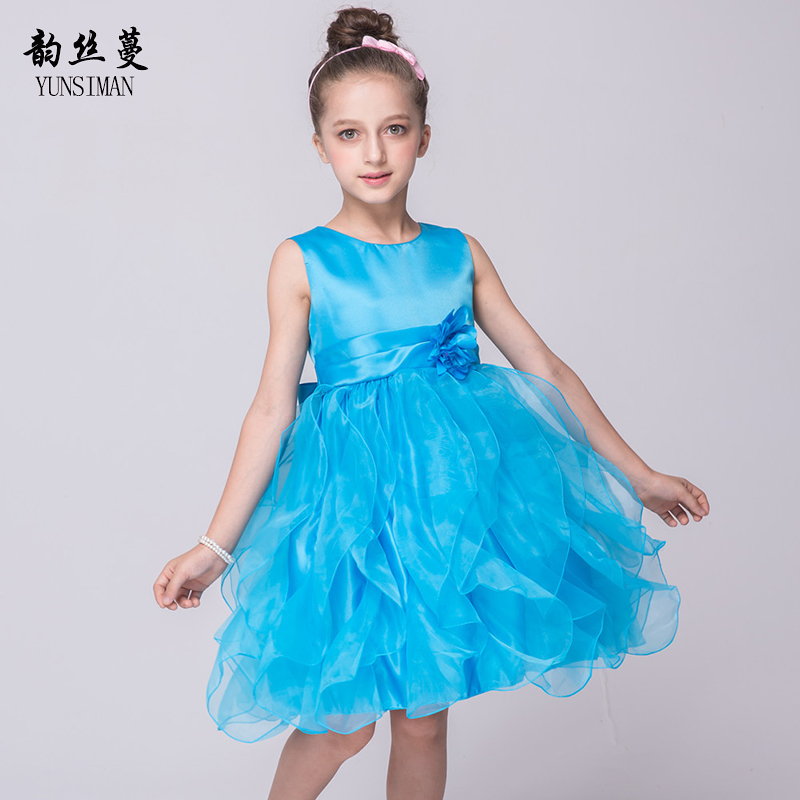 Fashion Girls Dresses 3 5 7 9 11 12 Years Kids Simple Style Flower Blue Girls Princess Dress Teen Girls Party Dress 6 8 10 1C08 summer flower children princess dresses for wedding and party 1 2 3 4 5 6 7 8 years girls clothes new style toddlers kids dress