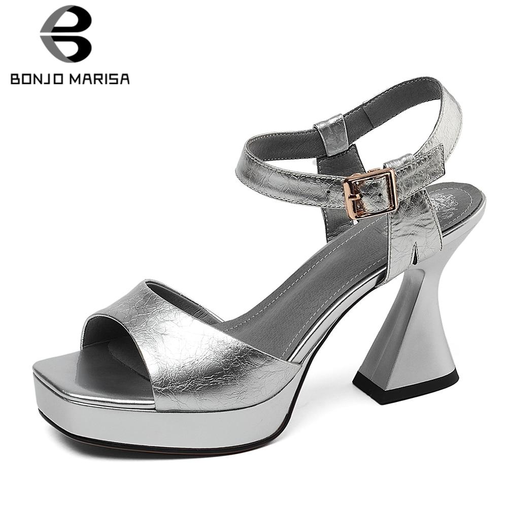 BONJOMARISA 2020 Fashion Cow Patent Leather Shoes Sandals Women Summer Platform Hoof High Heels Sandals Women Shoes Woman