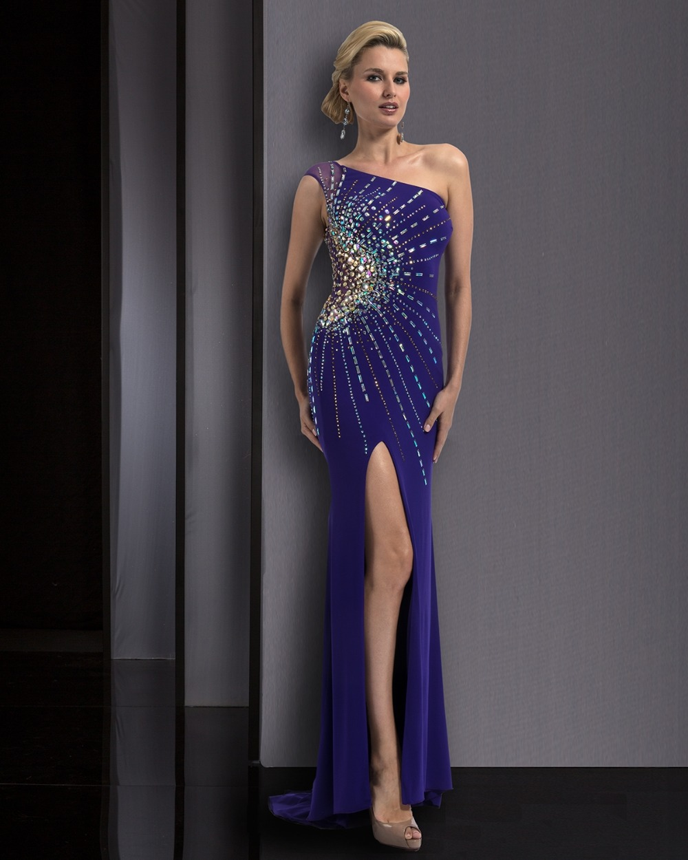 Open Leg Evening Dress Gown Free Shipping Sexy One Shoulder ...